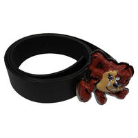 Taz Metal Belt Buckle & Faux Leather Belt (One Size)