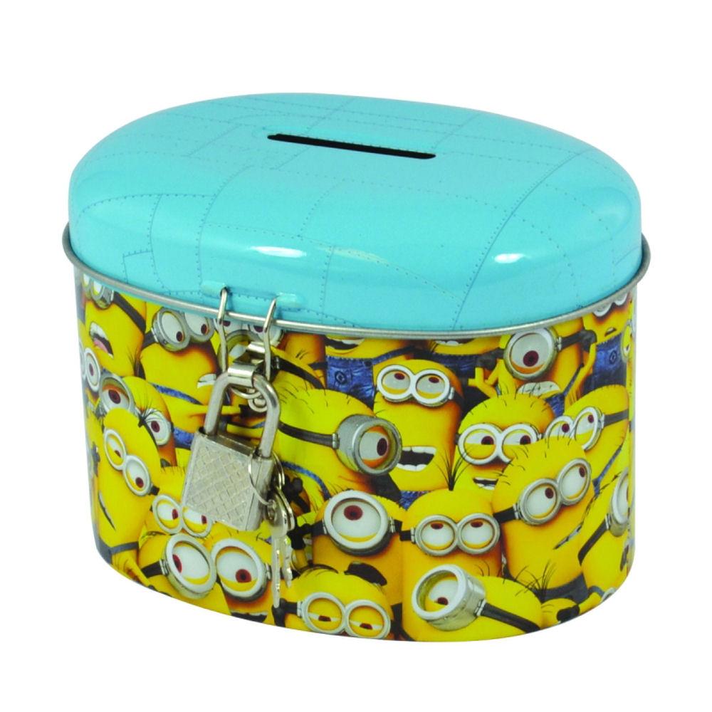 Minions metal money box with padlock tin piggy bank for How to open a tin piggy bank
