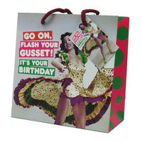 Go On, Flash Your Gusset! It's Your Birthday Medium Gift Bag & Tag