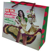 Go On, Flash Your Gusset! It's Your Birthday Large Gift Bag & Tag