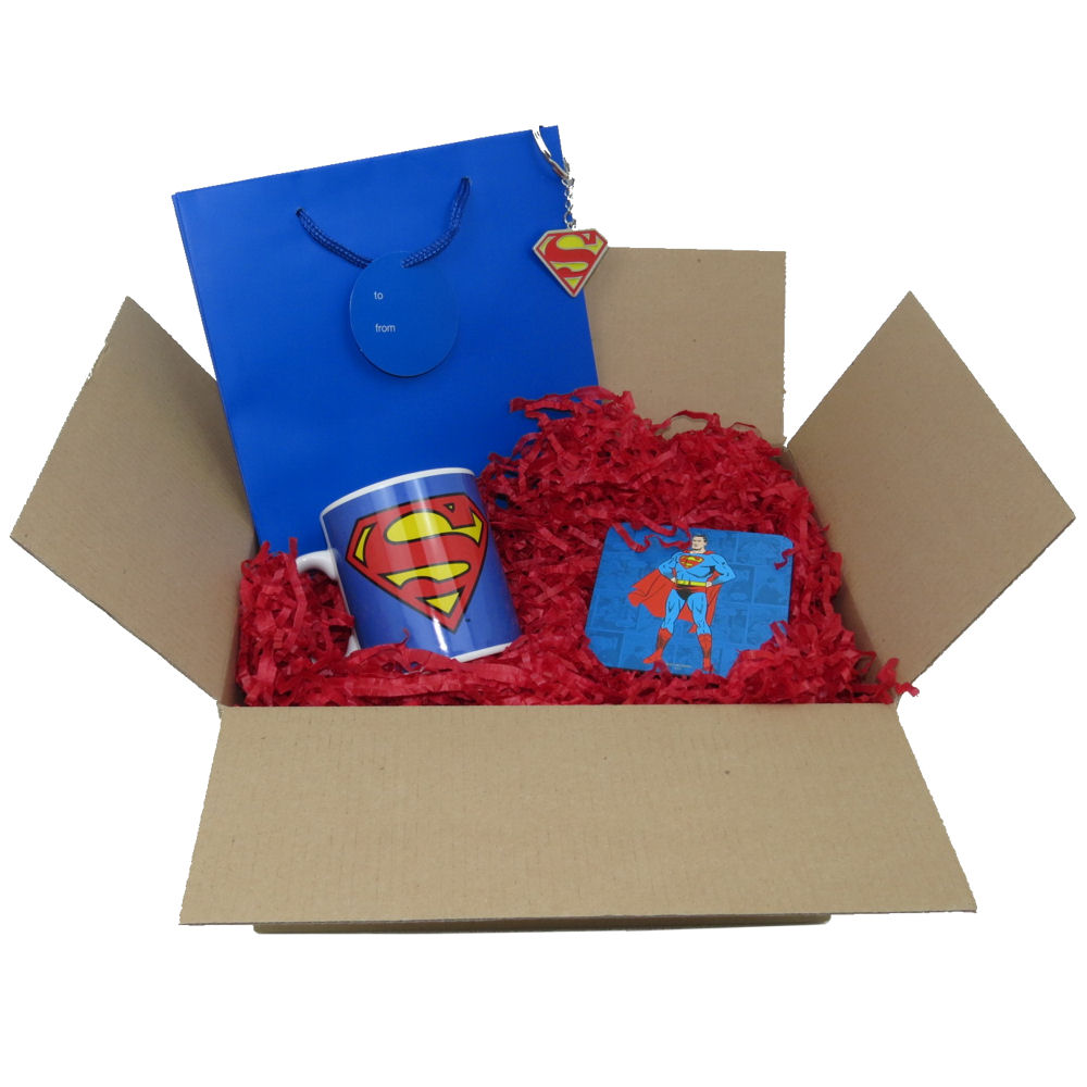 Superman Logo Mug, Coaster, & Metal Keyring Gift Bag