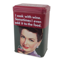 I Cook With Wine, Sometimes I Even Add It To The Food Hinged Lid Tin Canister