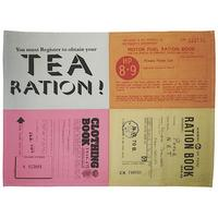 Emergency Ration & Ration Books Montage Set of 2 Tea Towels