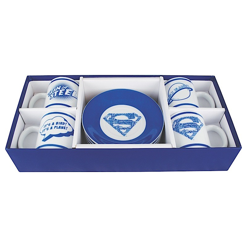 Superman Collection Set of 4 Espresso Cups & Saucers