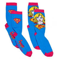 Supergirl 'Face' 2 Pack Of Ladies Socks