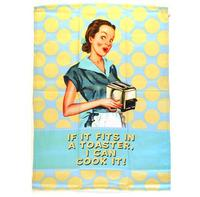 "Housewife Humour ""If it fits in a toaster, I can cook it!"" Tea Towel"