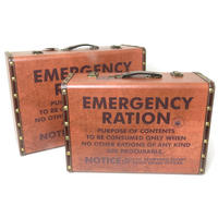 Set of 2 Emergency Ration Wooden Storage Suitcases