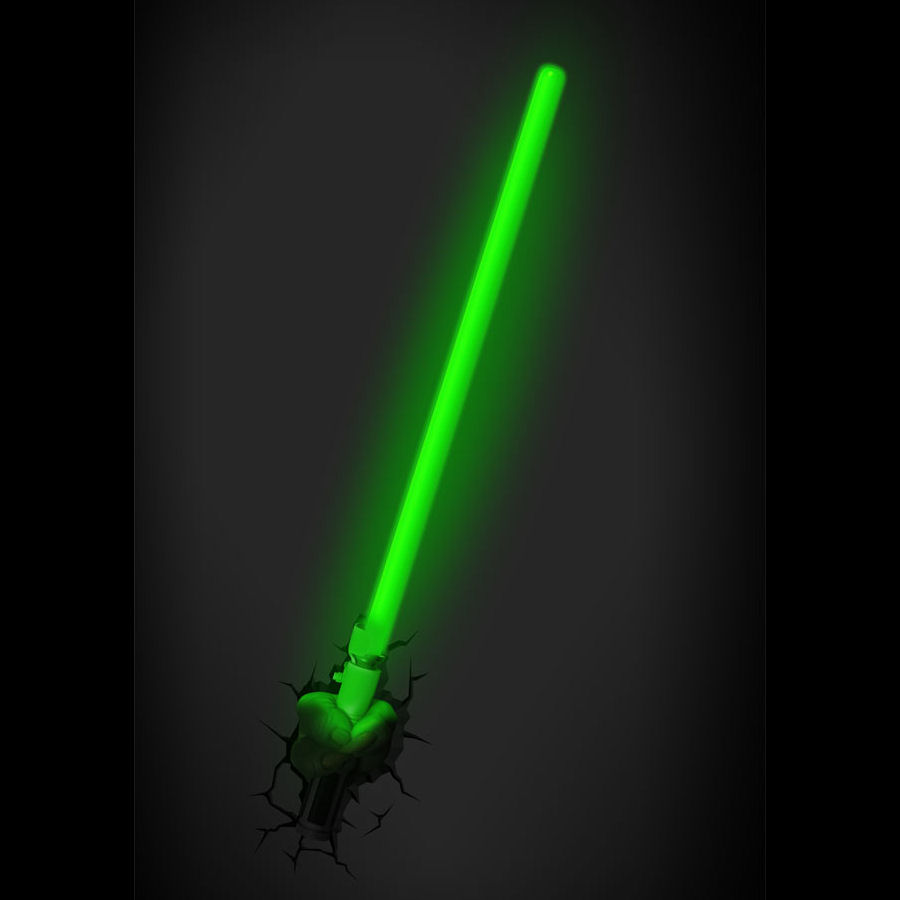 yoda lightsaber 3d deco wall light with remote and timer. Black Bedroom Furniture Sets. Home Design Ideas