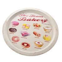 Town Bakery Cakes & Pastries Round Tin Tray