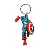 Captain America Running Pose Rubber Keyring