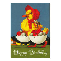 Happy Birthday Duck With Chocolates Postcard