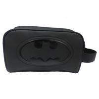 Black PU Batman Embossed Logo Wash Bag