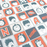 3 Sheets Of Beano Squares Gift Wrap