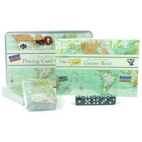 Vintage Map Playing Card Game Set In A Tin