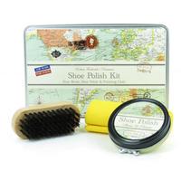 Vintage Map Shoe Shine Kit In A Tin