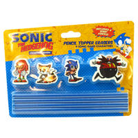 Sonic The Hedgehog Set Of 4 Pencils & Eraser Toppers