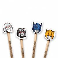 Autobots Vs Decepticons Set Of 4 Pencils & Eraser Toppers