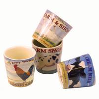 Set Of 4 Farmers Market Ceramic Egg Cups