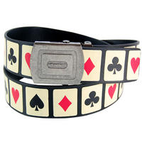 Playing Cards Adjustable Faux Leather Belt