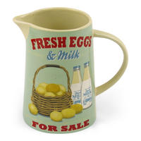 Fresh Eggs & Milk For Sale Ceramic Jug