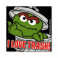 "Oscar The Grouch ""I Love Trash"" Die Cut Fridge Magnet"
