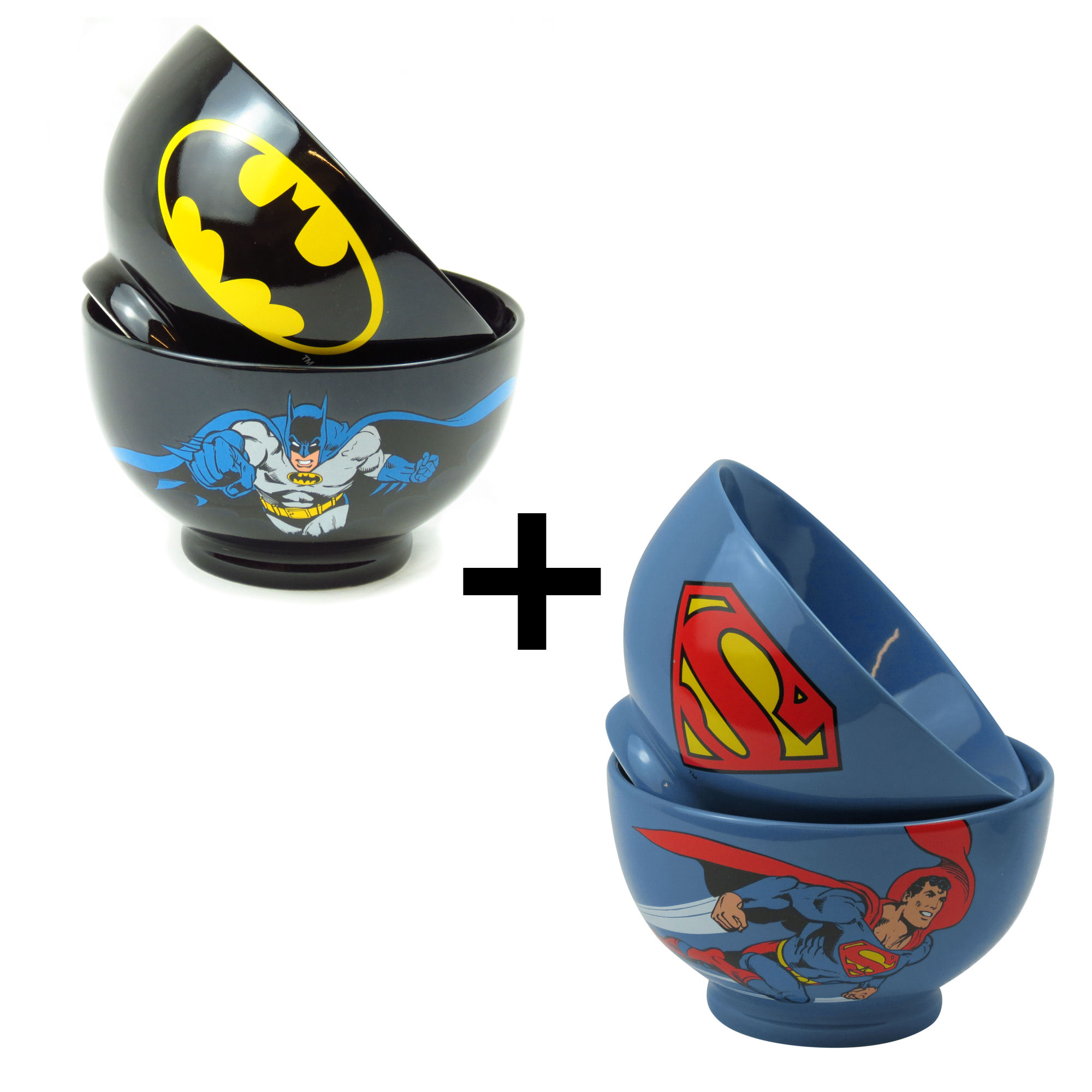 Set of 2 Stoneware Bowls - Superman & Batman
