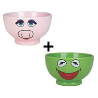 Set of 2 Stoneware Bowls - Kermit The Frog & Miss Piggy
