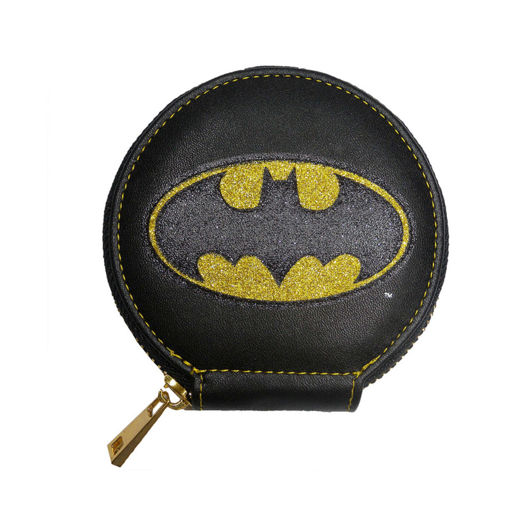 Batman Glitter Logo Zipped Coin Purse