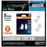 Osram LED 6800K Ice Blue WB5W (501) Wedge 12V 1W Led Bulbs Long Life 2850BL-02B