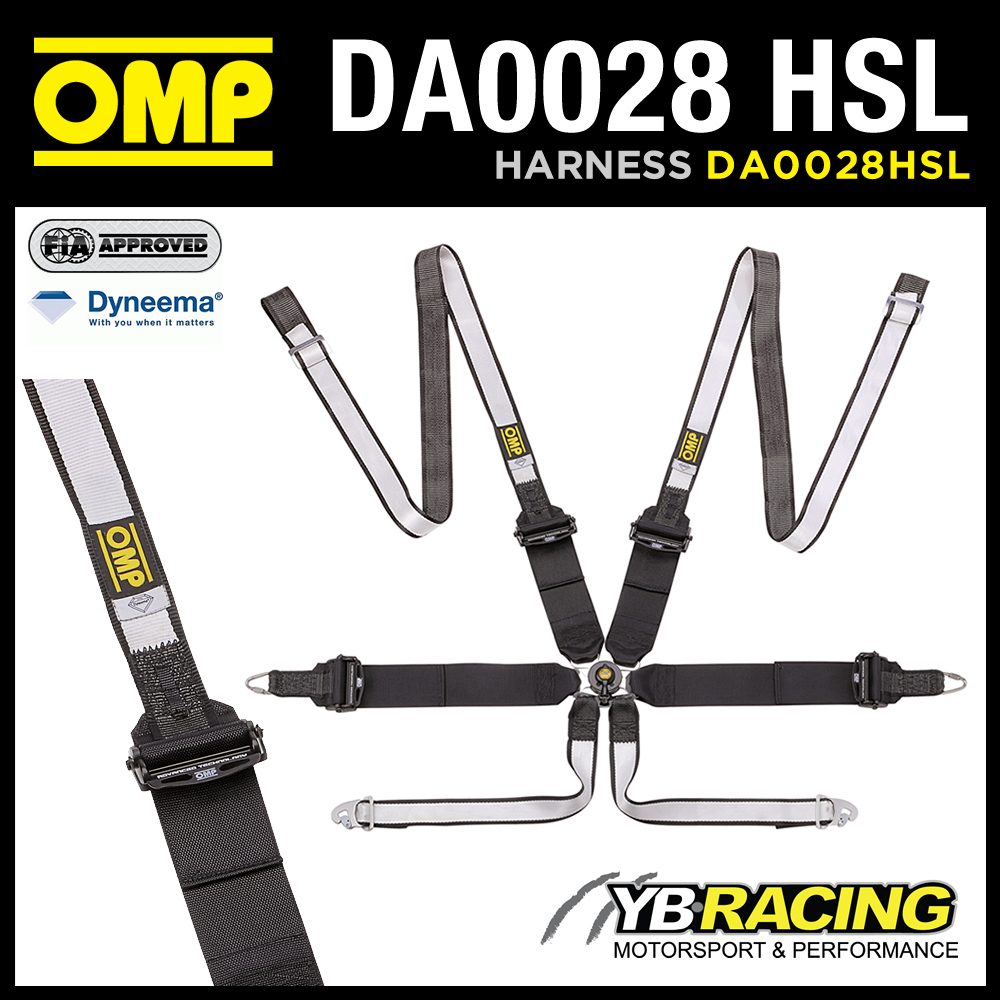 NEW! DA0028HSL OMP RACING WTCC TOURING CAR HARNESS 6-POINT HANS ONLY DYNEEMA