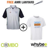 ASTON MARTIN RACING TEAM GULF POLO SHIRT & CAR T-SHIRT SET + FREE AMR LANYARD!