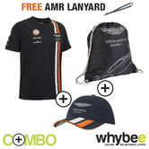 ASTON MARTIN RACING TEAM MALE T-SHIRT, BAG & UNISEX CAP SET + FREE AMR LANYARD!