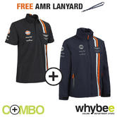 ASTON MARTIN RACING TEAM MENS POLO SHIRT & JACKET SET + FREE AMR TEAM LANYARD!