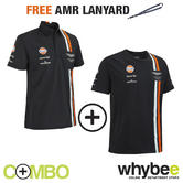 ASTON MARTIN RACING TEAM MENS POLO SHIRT & T-SHIRT SET + FREE AMR TEAM LANYARD!