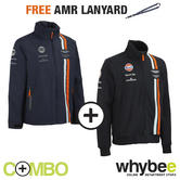 ASTON MARTIN RACING TEAM MENS JACKET & SWEATSHIRT SET WITH FREE LANYARD STRAP!