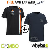 ASTON MARTIN RACING MENS LIFESTYLE T-SHIRT & TEAM T-SHIRT SET + FREE AM LANYARD!