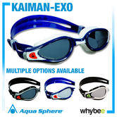 Aqua Sphere Kaiman Exo Mens Swimming Goggles - Swim Goggles White Black Blue