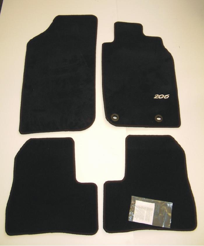 PEUGEOT 206 LUXURY CARPET MATS BLACK [3/5 door hatchback & SW up to Sept 2006]