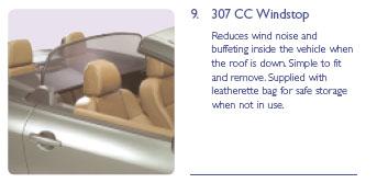 PEUGEOT 307 WIND STOP [CC ] COUPE-CABRIOLET GENUINE PEUGEOT ACCESSORY ITEM NEW! Thumbnail 1