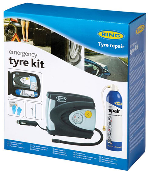 RTK1 Ring Automotive Emergency Tyre Puncture Repair Kit Inc Air Compressor!