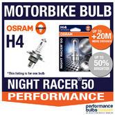 New! Osram H4 Night Racer 50 Motorbike Headlight Bulb +50% Brighter! H4 60/55W
