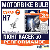 New! Osram H7 Night Racer 50 Motorbike Headlight Bulb +50% Brighter! 1 x H7 55W
