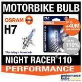 New! Osram H7 Night Racer 110 Motorbike Headlight Bulb (x1) Single Blister Pack