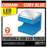New! OSRAM Cuby Blue Portable Torch Light Clip On Grip - Recharge Via USB Plug!