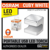 New! OSRAM Cuby White Portable Torch Light Clip On Grip - Recharge Via USB Plug!