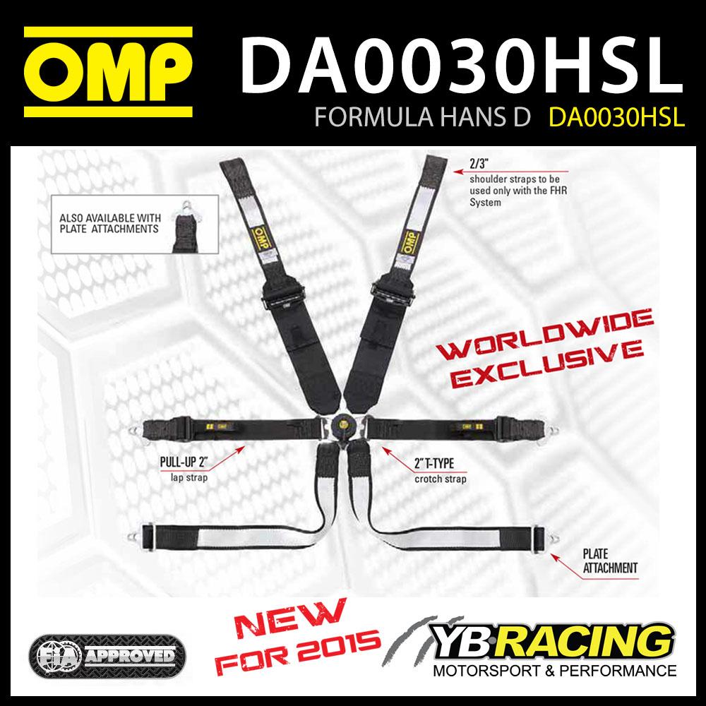 NEW! OMP RACING 0030 FORMULA HANS D SAFETY HARNESS FHR DYNEEMA FABRIC FIA 8853