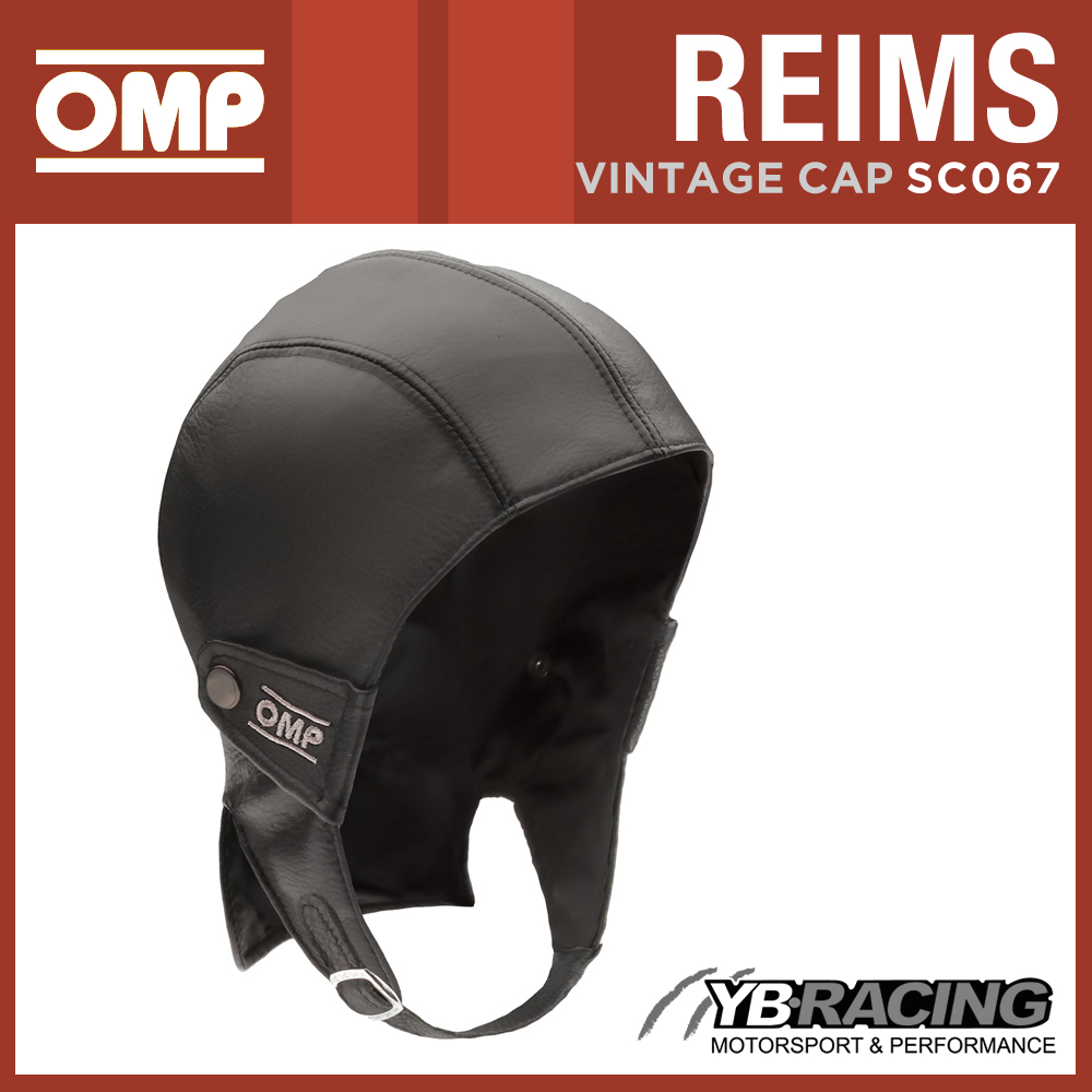 SC067 OMP REIMS VINTAGE LEATHER HELMET CAP FOR CLASSIC CAR DRIVER! SIZES S TO XL