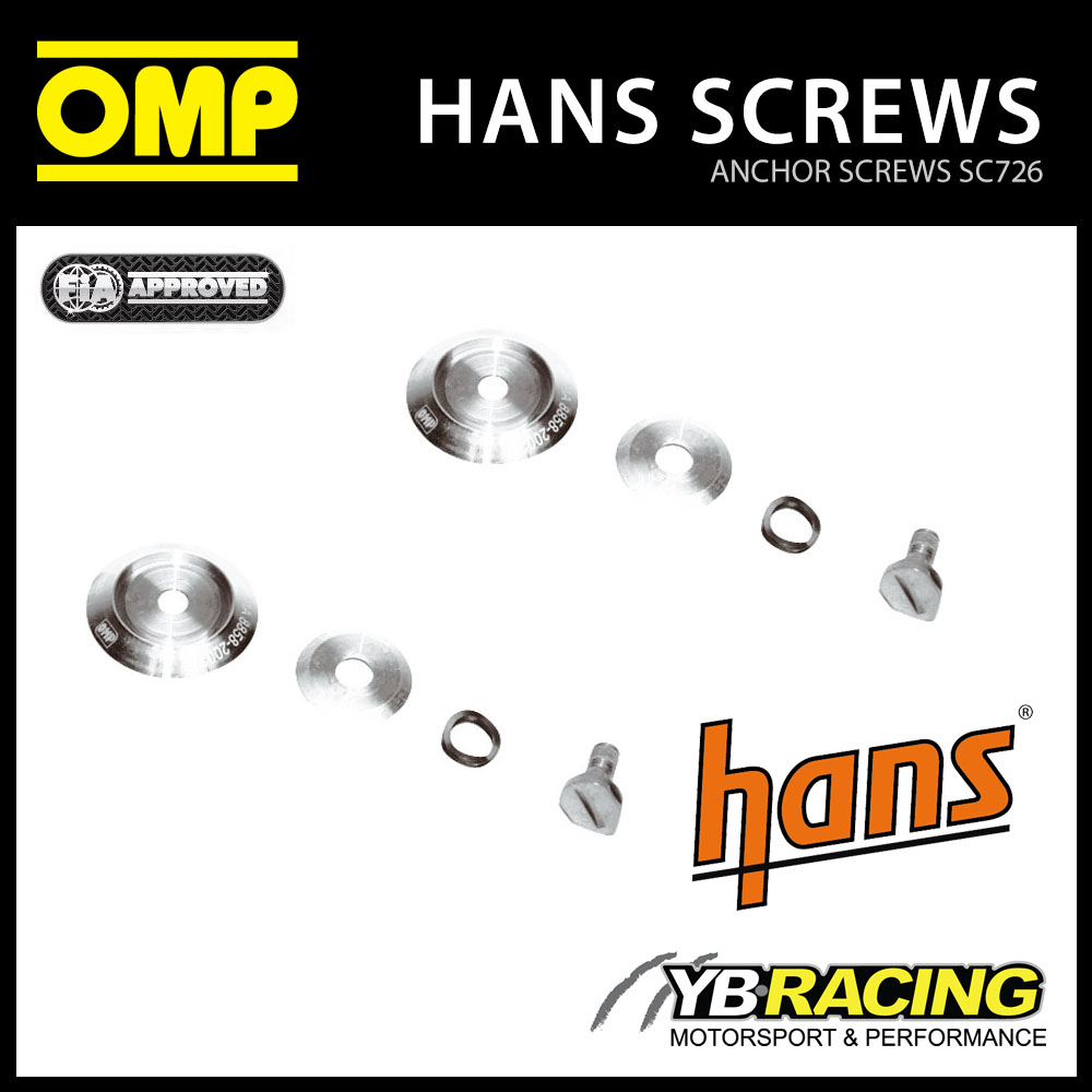 NEW! SC726 OMP RACING HANS DEVICE ANCHOR SCREW CLIPS (MALE) for OMP RACE HELMETS