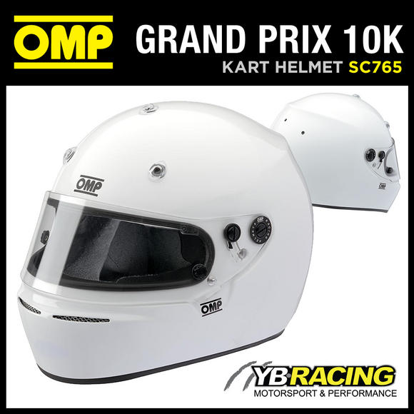 View Item SC765 OMP GRAND PRIX 10 K HELMET KART KARTING FULL FACE SNELL K-2010 SIZE XS-XL