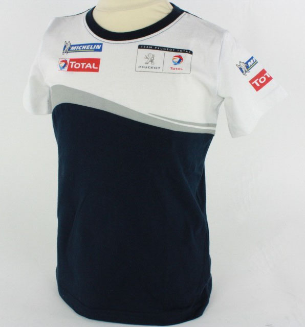 new peugeot sport mens rally t shirt white navy 100 cotton pts logo on back ebay. Black Bedroom Furniture Sets. Home Design Ideas